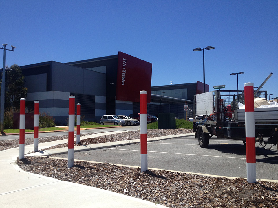 red and white Bollards Installed in Australia
