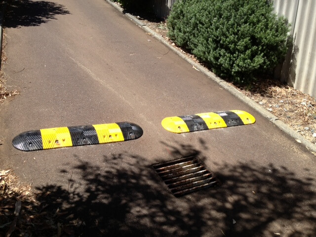 Speed humps yellow and black